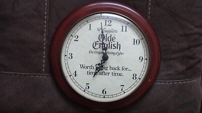 Gaymers Olde English Cider Backwards Clock. Wood. 26Cms Dia.