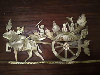 Burmese carved Mother Of Pearl Cow ceremonial Cart royal carriage on wood panel