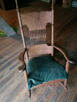 "Antique Rocking Chair Upholstered Seat RARE WOW Approx 52"" Tall"