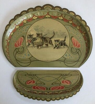 Antique Victorian Helena Maguire Cat Image Crumb Catcher Tin Litho Wow!