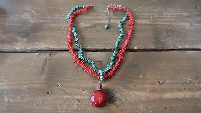 Vintage Artisan Sterling Silver Red Sea Coral and Turquoise Necklace 16-18 inch