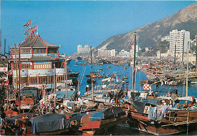 Continental size Postcard Floating Population of Hong Kong China Posted 1985