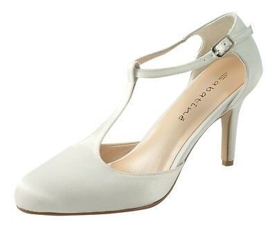 Ladies Ivory  Satin Wedding Bridal T Bar Court Mary Jane Style Shoes Size 5