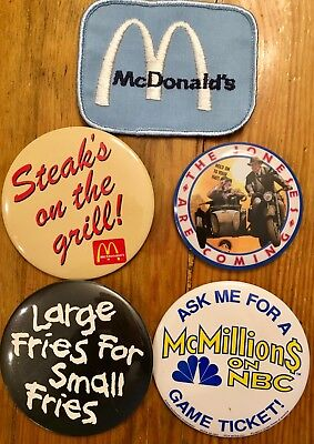 McDonald's Patch, Pin-Backs-Buttons- McMillions, Indiana Jones, Fries, Steaks On