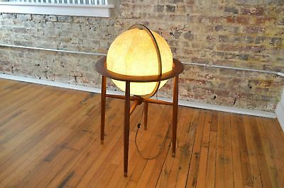 Vintage Mid Century Danish Modern 1950s Illuminated Floor Globe by Replogle