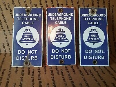 3 vintage  BELL SYSTEM UNDERGROUND TELEPHONE CABLE SIGNS