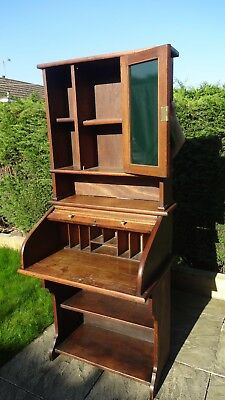 Vintage Roll Front Bureau /display Cabinet. Dark Wood. Great Condition.