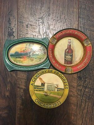 Lot of three antique tip trays. Including pre prohibition Gallagher and Burton