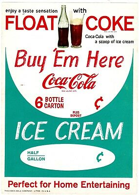 "Coca Cola Paper Sign COKE FLOAT 6""X 8"" from 1950s 63 years old!"