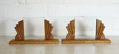 A Pair of matching Art Deco Oak Sunray Photo Frames with Glass 1920s 1930s