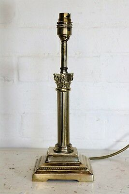 A Vintage Solid Brass Corinthian Column Table Lamp Heavy Well Made
