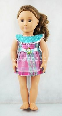 Round Collar Plaid Princess Dress Skirt Fit For 18'' American Girl Doll Clothes
