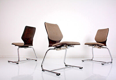 4 X stuhl stühle pagholz gepolstert chairs pagwood chaises 70er 70s sim flötotto