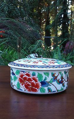 Japanese Porcelain Lidded Candy Dish Trinket Box Possible Imarie Ware Floral