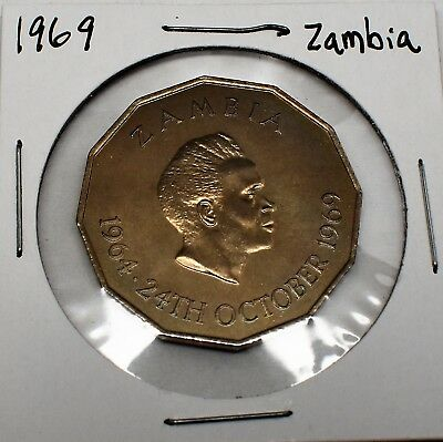 1969 Zambia 50 Ngwee Coin In High Grade Uncirculated