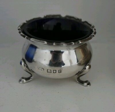 Antique solid silver hallmarked table salt .