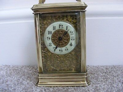 BEAUTIFUL ORNATE BRASS CARRIAGE CLOCK c1900 WITH KEY PERFECT WORKING ORDER