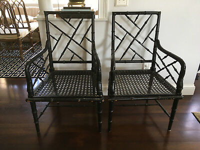 Vtg Mid Century Hollywood Regency Bamboo Chinese Chippendale Chairs