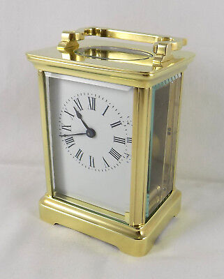 Antique French A.c.c Brass 8 Day Carriage Clock - Cleaned And Serviced