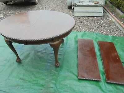 Antique solid mahogany ball feet extendable dining table