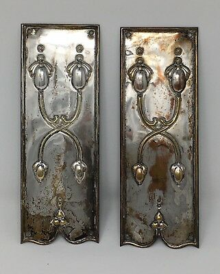 Reclaimed Solid Bronze, Silver Plated Arts & Crafts Finger Plates - 2 plates