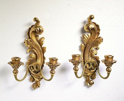 Pair of Fine Antique Gilt Carved Wood Rococo Sconces 2x2 Wall Candleholders