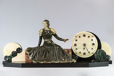 1930 Art Deco Mantel Clock Set With Chryselephantine  Signed  Limousin