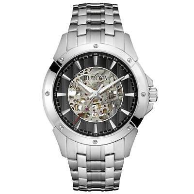 New Bulova 96A170 Automatic 21 Jewels Stainless Black Dial Men's Watch