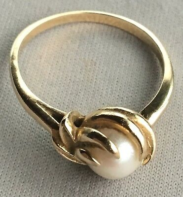 EXQUISITE ART NOUVEAU Size 6,1/2 WOMAN'S 14K GOLD PEARL ESTATE RING! 7MM PEARL C