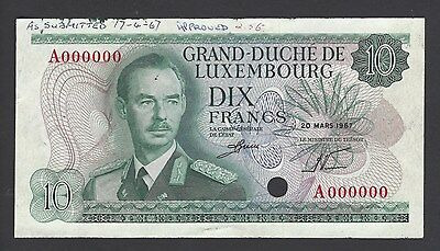 Luxembourg 10 Francs 20-3-1967 P53s Specimen  Uncirculated