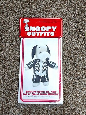 Vintage Peanuts Baby Plush Snoopy Skeleton Costume Outfit Clothing Fits 11""