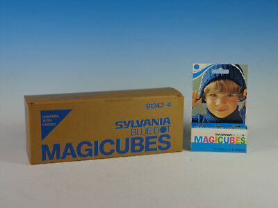 Sylvania Magicubes Magic Cubes, Blue Dot, NOS, Carton of 12- 144 flashes Total