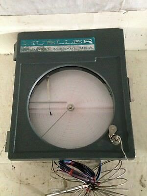 Vintage Mueller Temperature Chart Recorder and Extra Sheets 30-180 Degree F Key