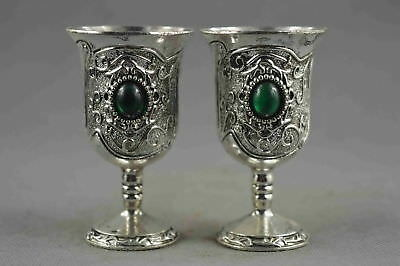 Collectable Handwork Decor old Miao Silver & Agate Carve Flower Lucky Wine Cup