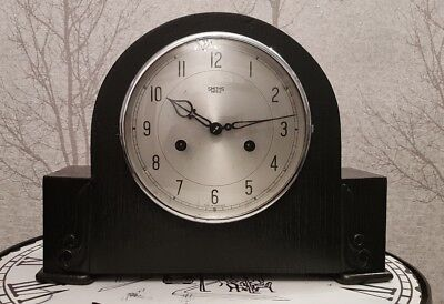 Restored ebony  Smiths/Enfield 8day clock  with  chimes mantle clock . 1950s