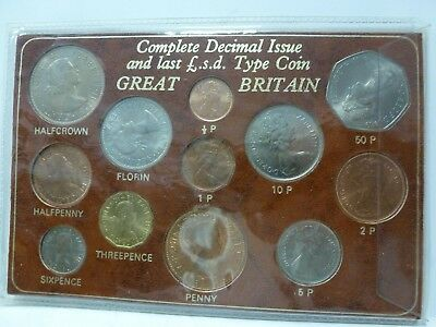 Complete Decimal Issue and the Last L.S.D. Issue Great Britain 12 coin set