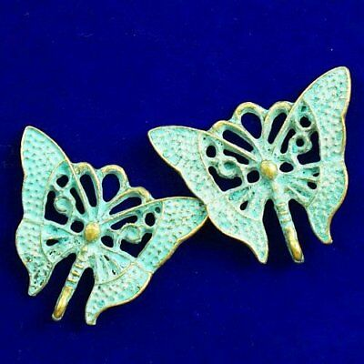 2Pcs Carved Bronze Brass Butterfly Pendant Bead 29x25x3mm D22880