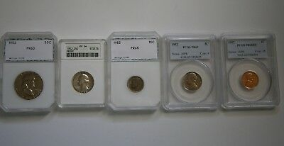 1952 Certified Proof Coins PCGS ANACS PCI Old Green Holder Cent Through Half