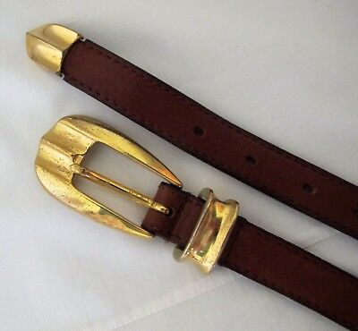 BELT Tan Brown Genuine LEATHER Skinny 80s VINTAGE Gold Buckle End & Keep Western