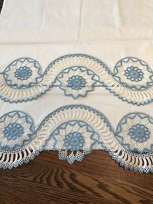 "Vintage hand Crocheted Blue And White Pillowcases~21"" X 34"""