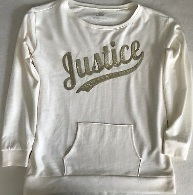 NWOT Girl's JUSTICE Sequin Sweatshirt Cream Gold Size 16/18(Youth)