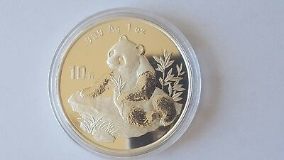 1998 China Panda .999 Fine Silver 1Oz Coin, 10 Yuan, Rare & Beautiful