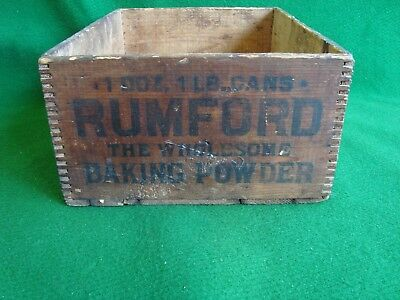 Antique Dovetailed Rumford Baking Powder Wooden Shipping Crate