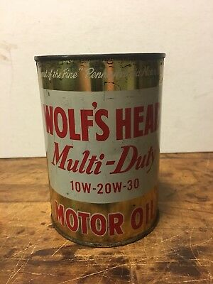 Vintage Wolf's Head Motor Oil Quart Gold Colored Metal Can