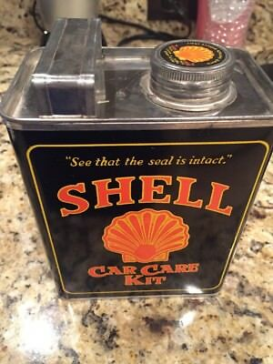 Vintage SHELL CAR CARE KIT Can - Near mint new old stock condition