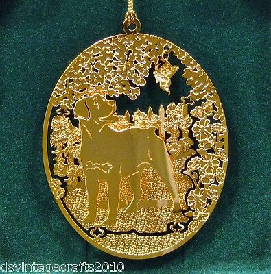 Rottweiler 24k Gold Plated Ornament New By Kingsheart Forge