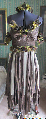 Renaissance Cosplay Fairy Wood Sprite Brown Dress & Head Piece Costume XS S