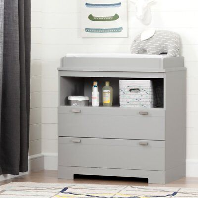 South Shore Reevo Changing Table with Storage, Soft Gray