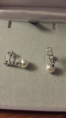 Sterling Silver CZ Crystal Earring Studs with Cultured Freshwater 8mm Pearls