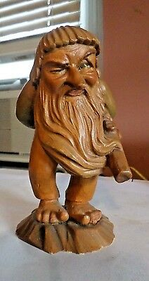 ANRI LITTLE FOLKS OF THE SALVANS -  THE WOODSMAN CARVED GNOME from Italy -5-1/2""